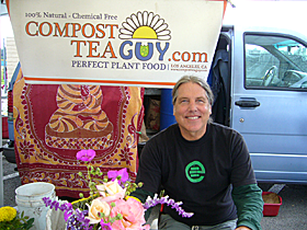 The Compost Tea Guy at the Pasadena Farmers' Market in Victory Park.